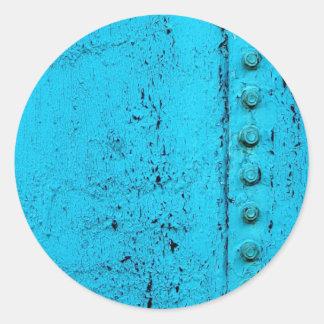 Textura sucia del metal de la aguamarina pegatina redonda