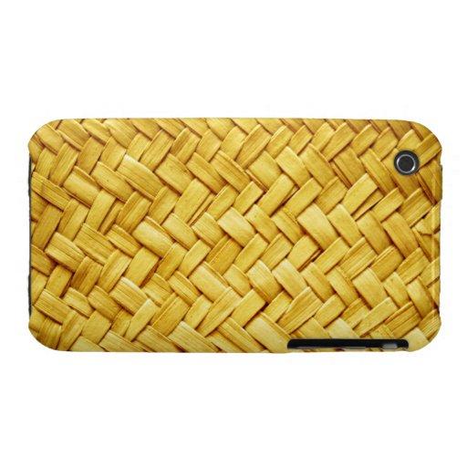 Textura tejida amarillo de la paja iPhone 3 Case-Mate protector