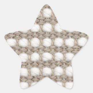 Textura tejida pegatina en forma de estrella