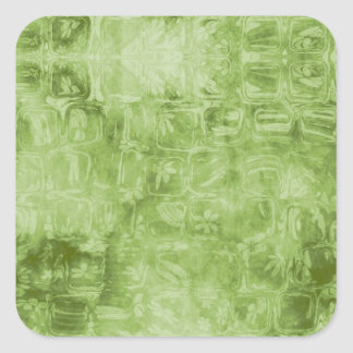 Textura verde abstracta calcomania cuadrada personalizada