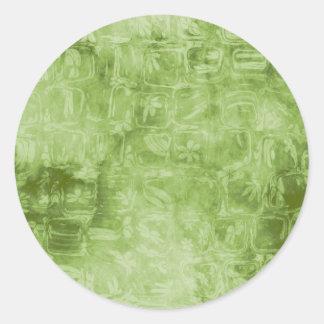 Textura verde abstracta etiqueta redonda