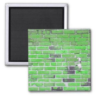 Textura verde de la pared de ladrillo del vintage imán