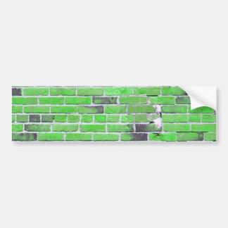 Textura verde de la pared de ladrillo del vintage pegatina para auto
