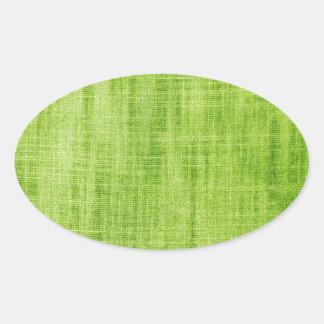 Textura verde de la tela calcomanía oval