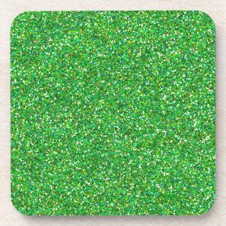 Textura verde del brillo posavasos de bebidas