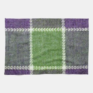 Textura verde y púrpura de la tela de las lanas de toallas