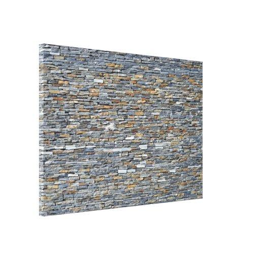 Textura y modelo de la pared de piedra oscura lona envuelta para galerías