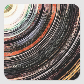 Textural Earth Tone Rings Square Sticker