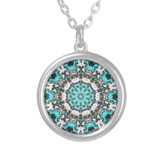 Textural Turquoise Mandala Silver Plated Necklace
