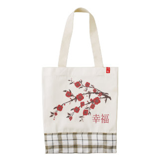 "Texture and poppy blossom tree ""Happiness"" Zazzle HEART Tote Bag"