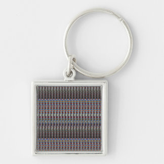 Texture Art Template add Text Quote Photo Image Silver-Colored Square Keychain