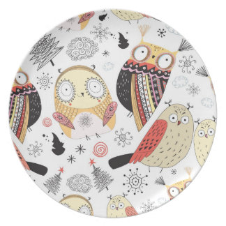 Texture funny owl dinner plate