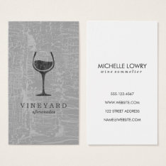 Texture Gray With Wine Glass Business Card at Zazzle