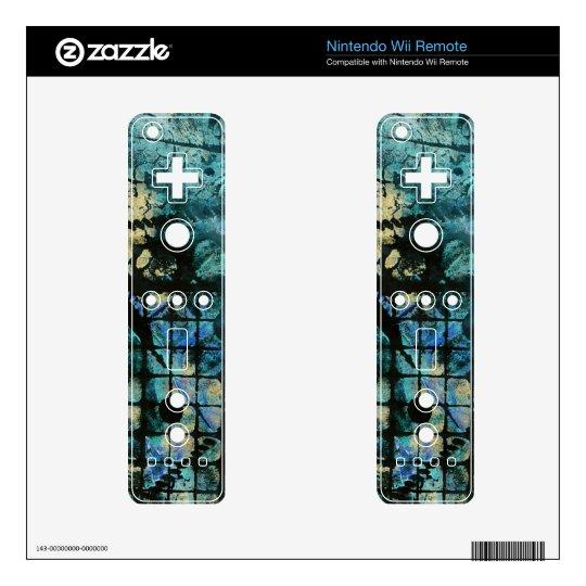 Texture Grunge Nintendo Wii Remote Skin Blue Green