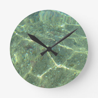 Texture of clear sea water round clock