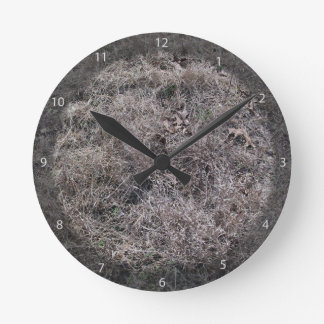 Texture of Dry Grass and Leaves Wall Clocks