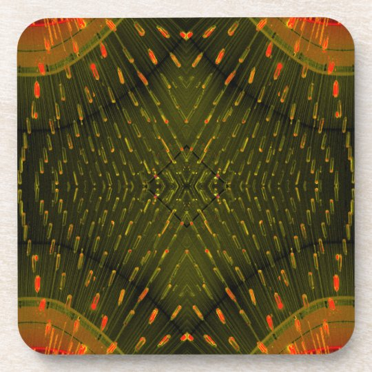 Texture of Light - Orange Green Light Thing Drink Coaster