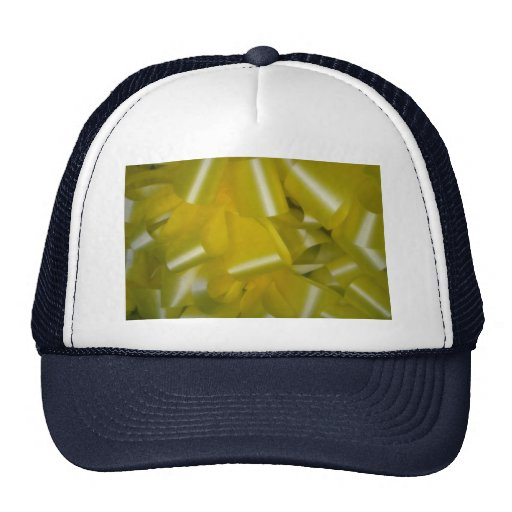 Texture of many lemon-yellow ribbons and bows trucker hat