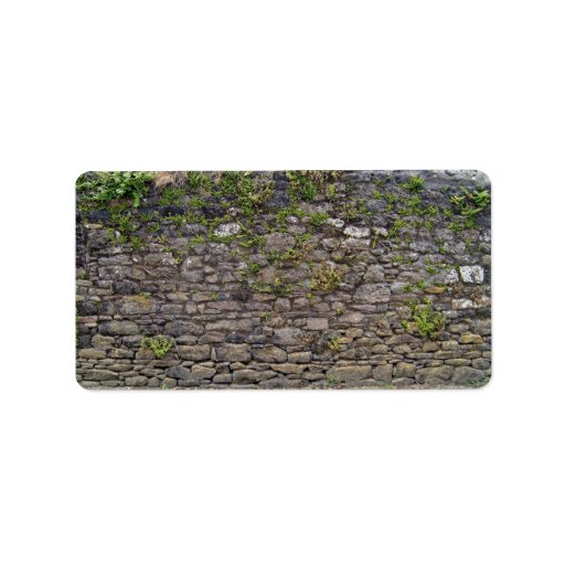 Texture Of Stone Wall and Green Plants Personalized Address Labels