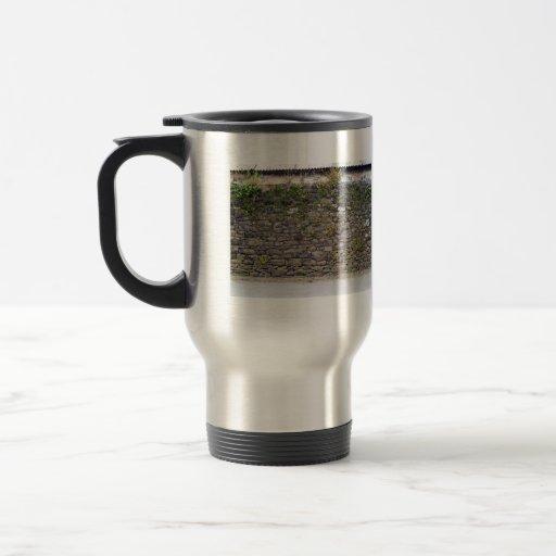 Texture Of Stone Wall and Green Plants Mug