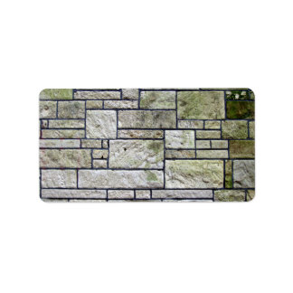 Texture Of Stone Wall Covered With Mosses Address Label