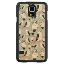 Texture Of White Owls Carved Maple Galaxy S5 Case