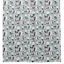 Texture Of White Owls Shower Curtain