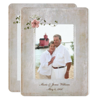 texture photo frame and rose bouquet card