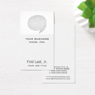 Texture Style Comic Speech Bubble Business Card