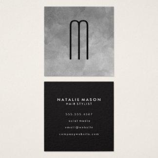 Texture Watercolor Monogram Square Business Card