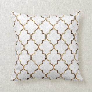 Texture White & Gold Quatrefoil Pattern Throw Pillow at Zazzle