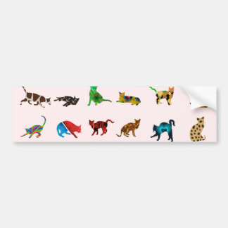 Texture With Colorful Cats Car Bumper Sticker