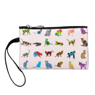 Texture With Colorful Cats Change Purse