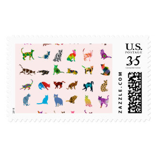 Texture With Colorful Cats Postage