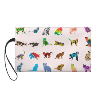 Texture With Colorful Cats Wristlet Purse