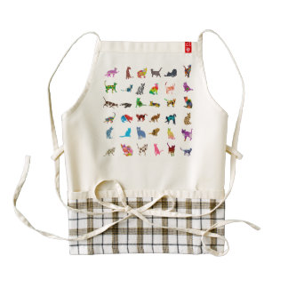 Texture With Colorful Cats Zazzle HEART Apron