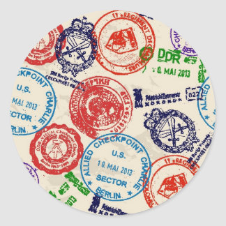 Texture with real stamps. classic round sticker