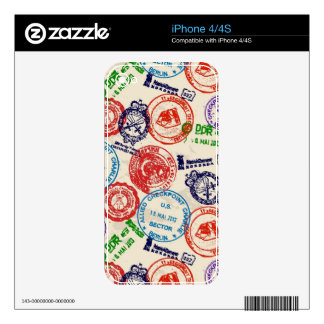 Texture with real stamps. iPhone 4S skins