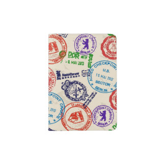 Texture with real stamps. passport holder