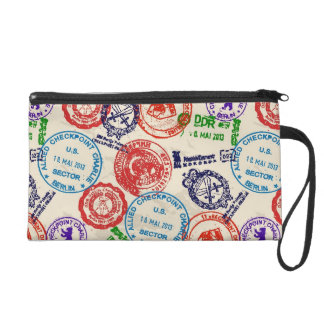 Texture with real stamps. wristlet purse
