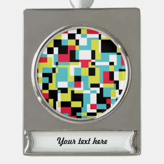 Texture with rectangles silver plated banner ornament