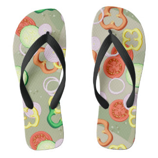 Texture With Slices Of Vegetables Flip Flops