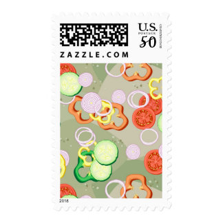 Texture With Slices Of Vegetables Postage