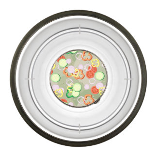 Texture With Slices Of Vegetables Pet Bowl