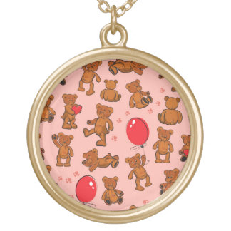 Texture With Teddy Bears, Hearts Round Pendant Necklace