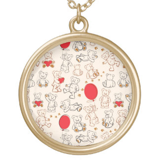 Texture With Teddy Bears Round Pendant Necklace