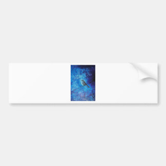 Textured acrylic painting of a blue bird in nature bumper sticker
