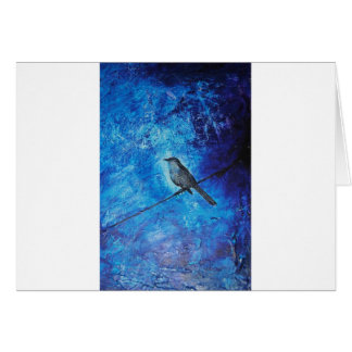 Textured acrylic painting of a blue bird in nature card