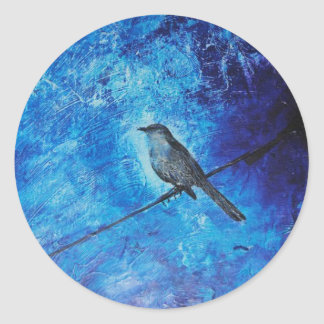 Textured acrylic painting of a blue bird in nature classic round sticker