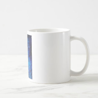 Textured acrylic painting of a blue bird in nature coffee mug